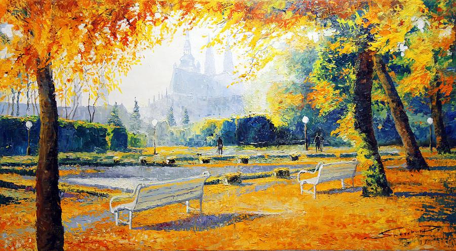 Oil On Canvas Painting - Prague Autumn In The Kralovska Zahrada by Yuriy Shevchuk