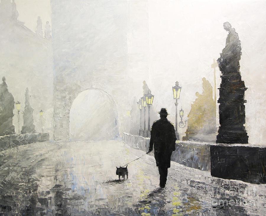 Oil On Canvas Painting - Prague Charles Bridge Morning Walk 01 by Yuriy Shevchuk