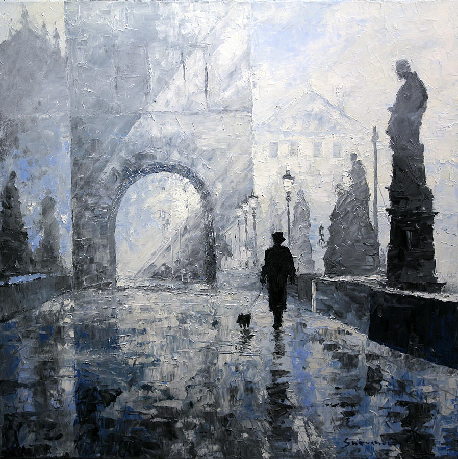 Painting Painting - Prague Charles Bridge Morning Walk by Yuriy Shevchuk