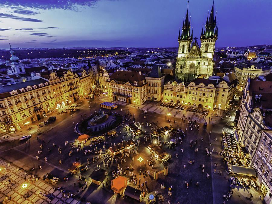 Prague Photograph - Prague Cityscape At Dusk Staromestski Namesti by Valerii Tkachenko