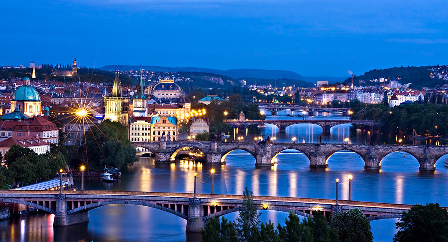 Prague Cityscape at Night by Barry O Carroll
