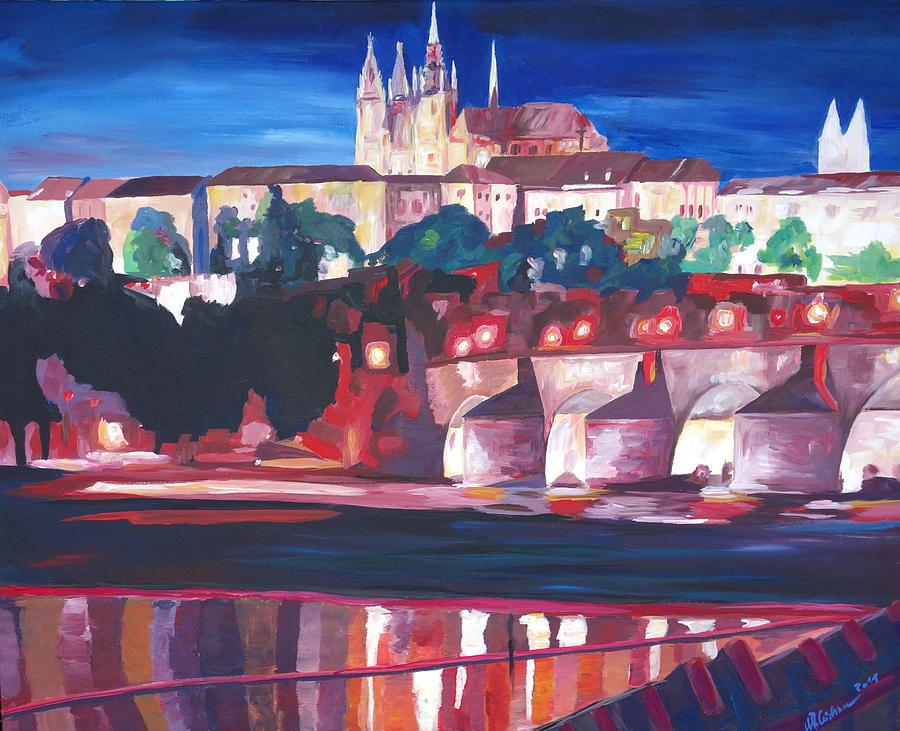 Acryl Painting - Prague - Hradschin With Charles Bridge by M Bleichner
