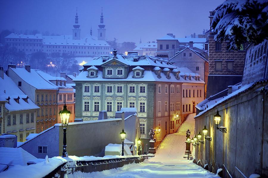 Night Photograph - Prague In White by Martin Froyda