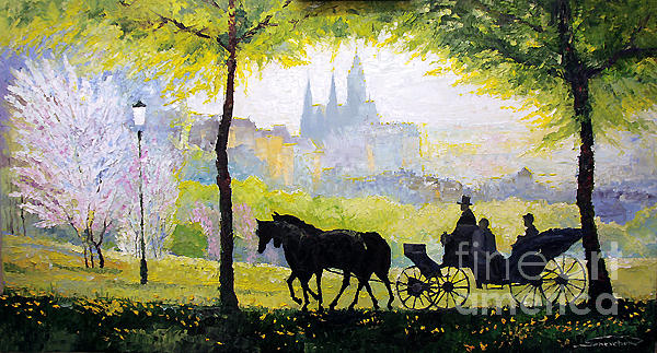 Oil Painting - Prague Midday Walk In The Petrin Gardens by Yuriy Shevchuk