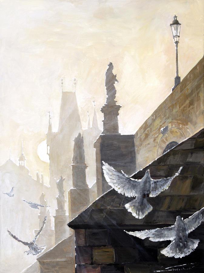 Oil On Canvas Painting - Prague Morning On The Charles Bridge  by Yuriy Shevchuk