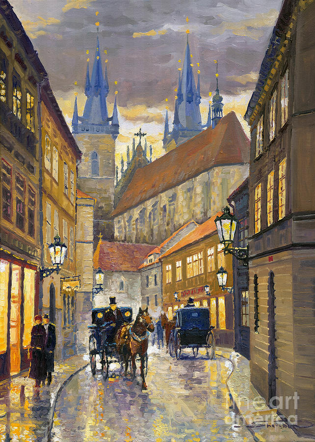 Oil Painting - Prague Old Street Stupartska by Yuriy Shevchuk