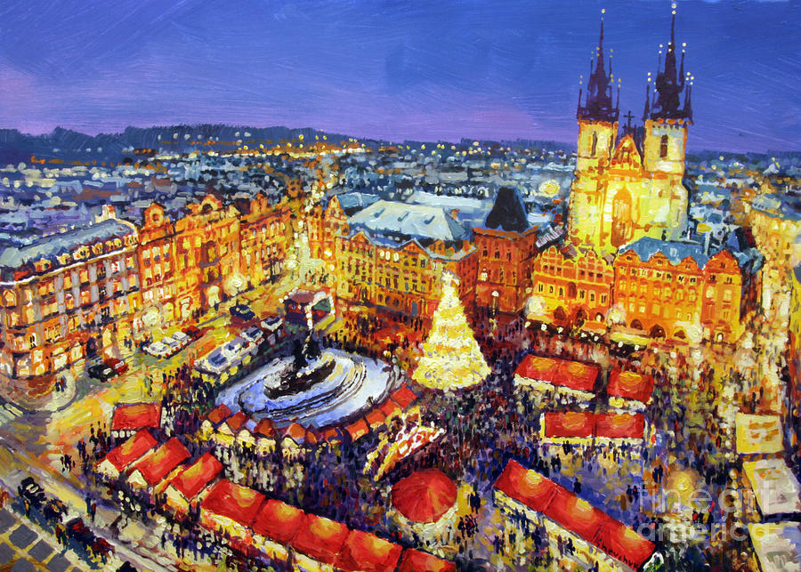 acrilic painting prague old town square christmas market 2014 by yuriy shevchuk