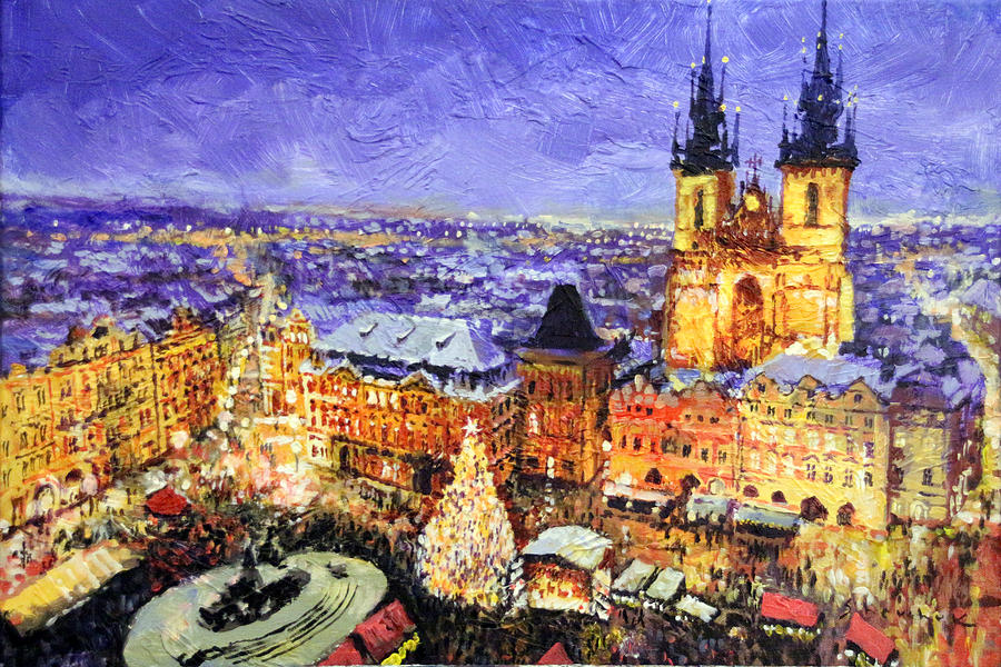 acrilic painting prague old town square christmas market by yuriy shevchuk