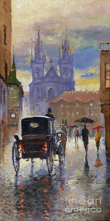 Oil On Canvas Painting - Prague Old Town Square Old Cab by Yuriy  Shevchuk