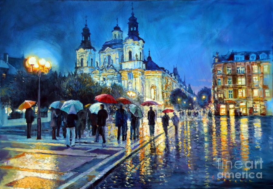 Acrilic Painting - Prague Old Town Square  View Of Street Parizska And St.nicolas Church by Yuriy Shevchuk