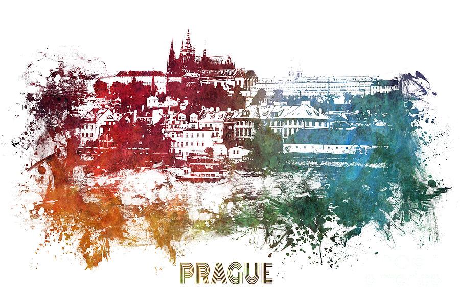 Prague Digital Art - Prague skyline by Justyna Jaszke JBJart