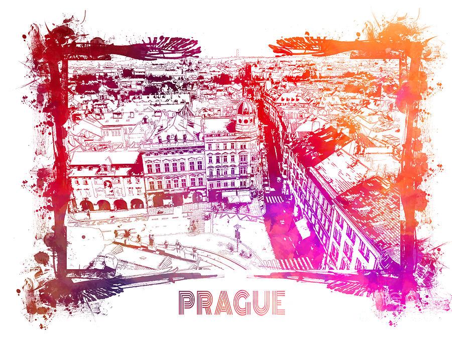 Prague Digital Art - Prague skyline panorame by Justyna Jaszke JBJart