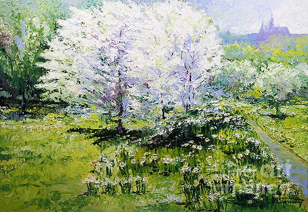 Oil Painting - Prague Spring In The Petrin Gardens by Yuriy Shevchuk