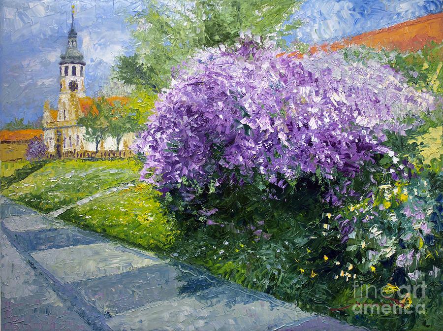Cityscape Painting - Prague Spring Loreta Lilacs by Yuriy Shevchuk