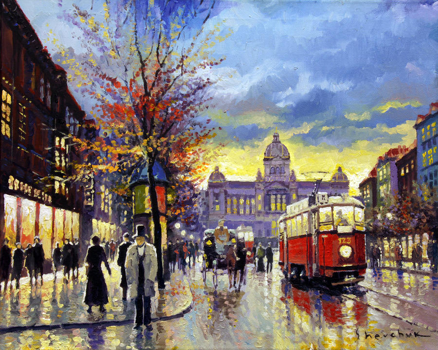 Oil On Canvas Painting - Prague Vaclav Square Old Tram Imitation By Cortez by Yuriy  Shevchuk