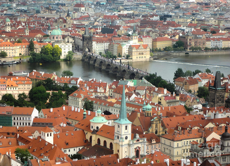 Prague Castle Photograph - Prague - View From Castle Tower - 03 by Gregory Dyer