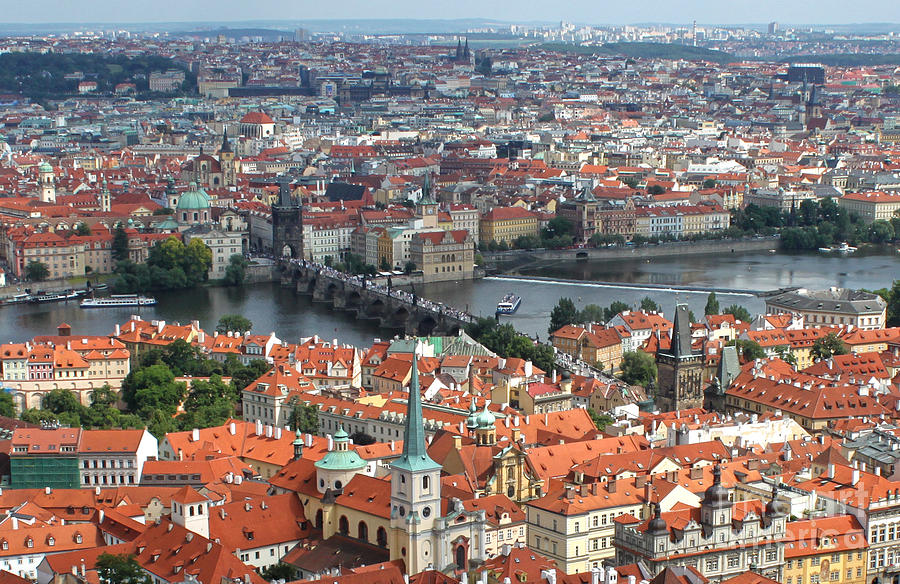Prague Castle Photograph - Prague - View From Castle Tower - 05 by Gregory Dyer