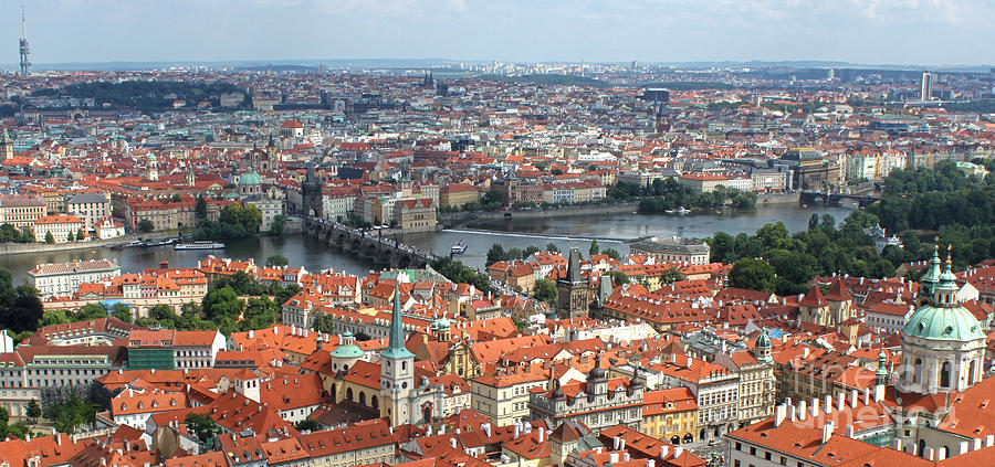 Prague Castle Photograph - Prague - View From Castle Tower - 09 by Gregory Dyer