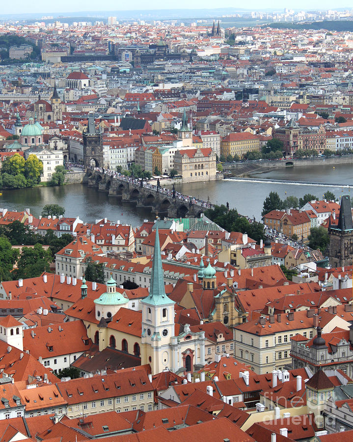 Prague Castle Photograph - Prague - View From Castle Tower - 10 by Gregory Dyer