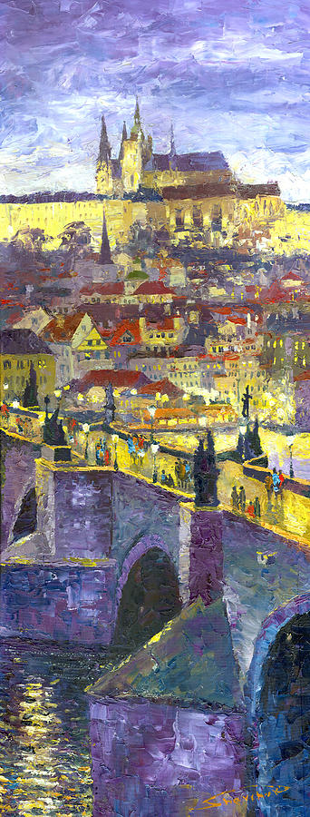 Oil On Canvas Painting - Prague Violet Panorama Night Light Charles Bridge by Yuriy Shevchuk