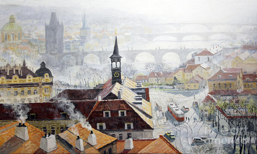 Oil On Canvas Painting - Praha Early Spring  by Yuriy Shevchuk