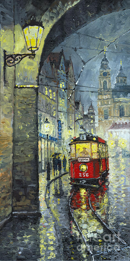 Oil Painting - Praha Red Tram Mostecka Str  by Yuriy  Shevchuk