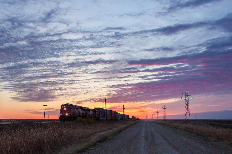 Sunrise Photograph - Prairie Sunrise With Train by Steve Boyko
