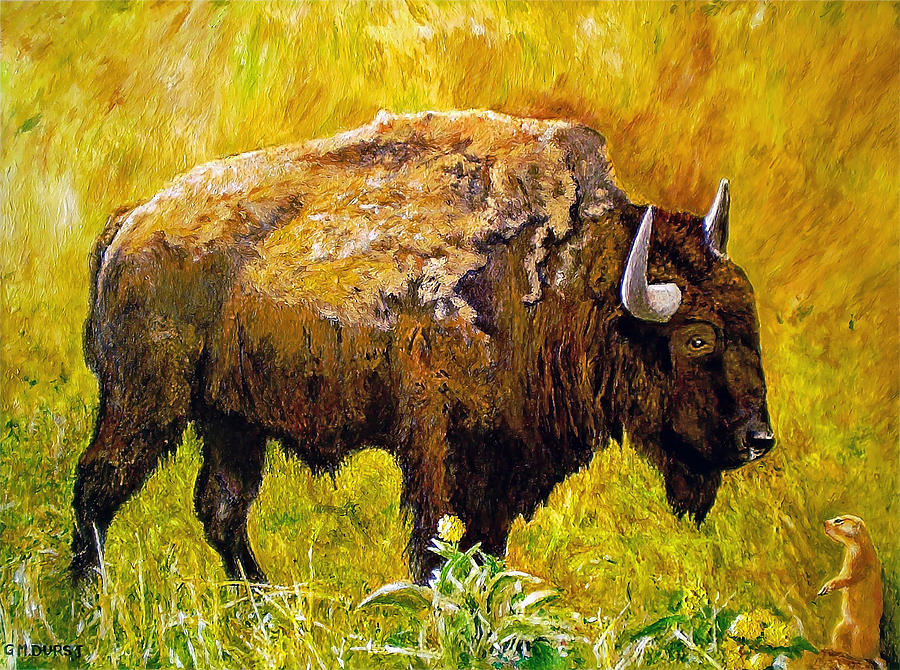 Buffalo Painting - Prairie Companions by Michael Durst