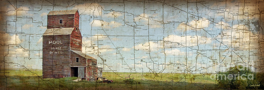 Grain Elevator Digital Art - Prairie Panorama by Judy Wood