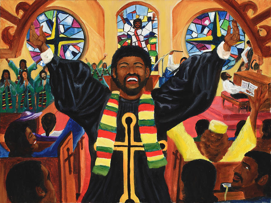 Minister Painting - Praise Him by Lawrence Childress