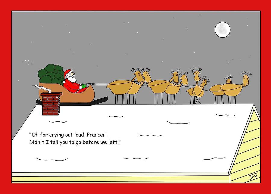 Christmas Digital Art - Prancers Gotta Go Christmas Card by Manly Thweatt