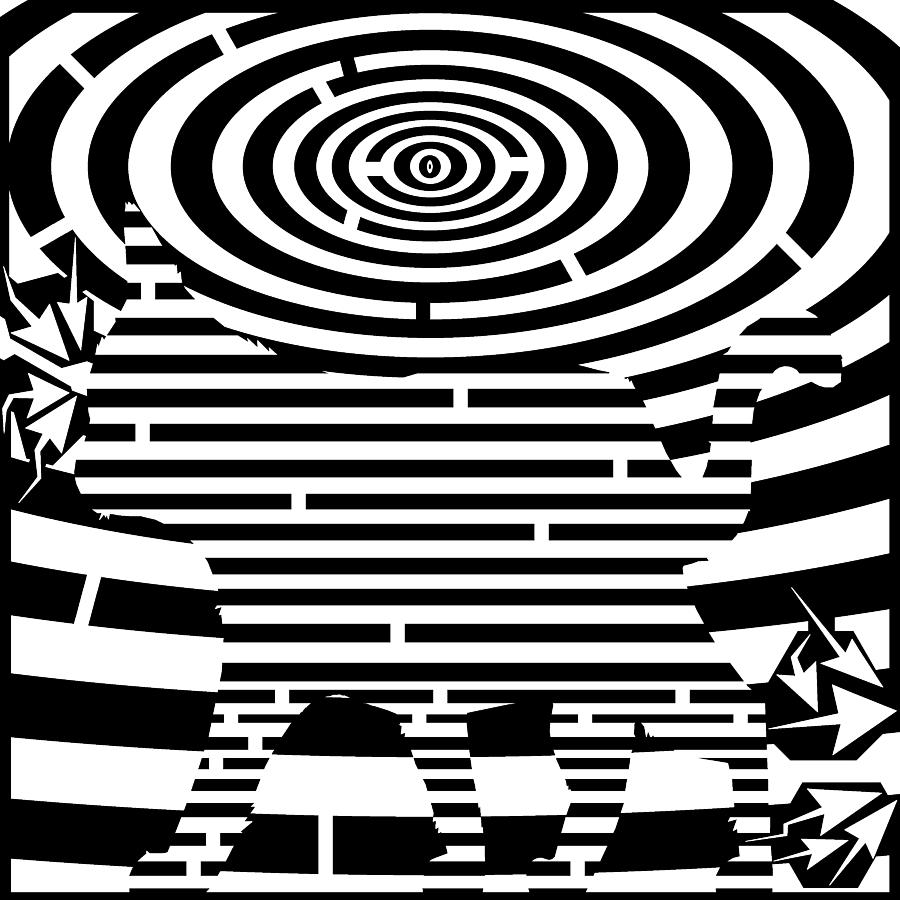 Maze Drawing - Prancing Kitty Cat Maze by Yonatan Frimer Maze Artist