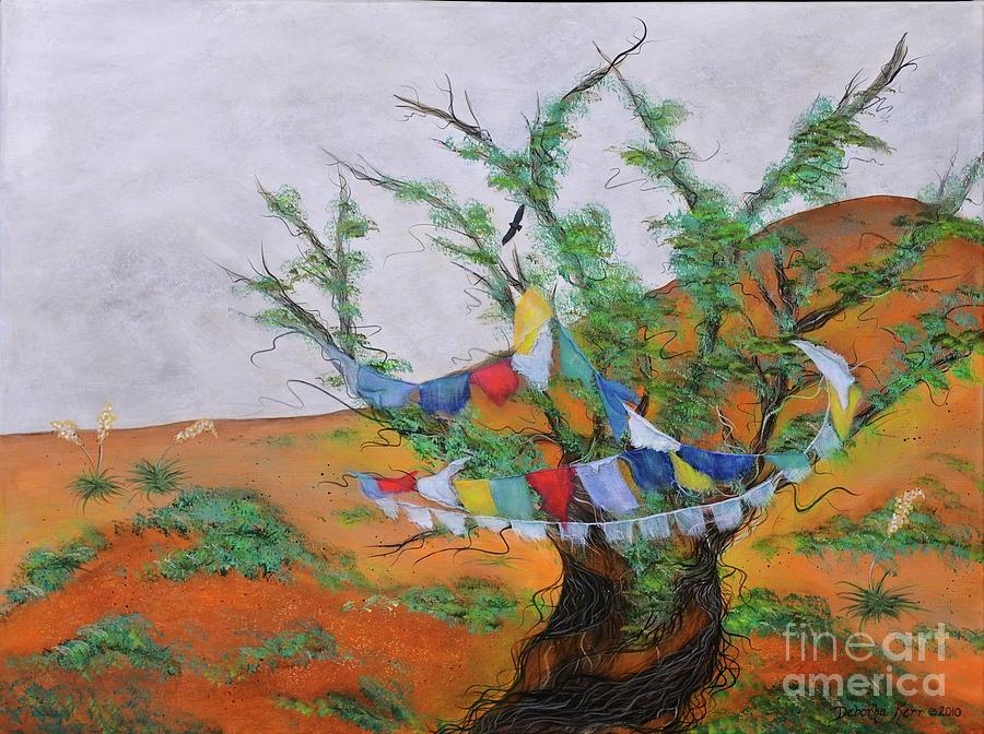 Acrylic Painting Painting - Prayer Flags by Deborha Kerr