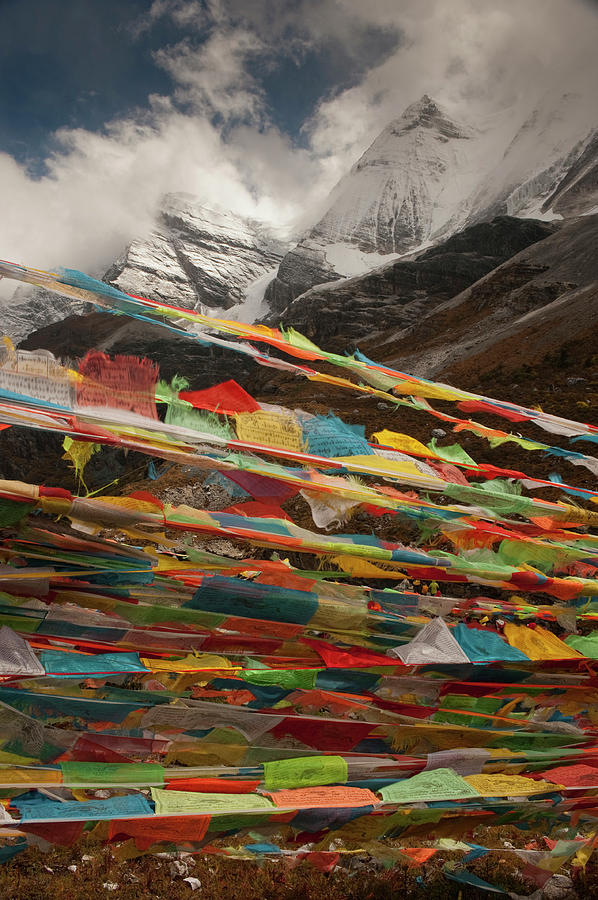 China Photograph - Prayer Flags Near Milk Lake, Yading by Howie Garber