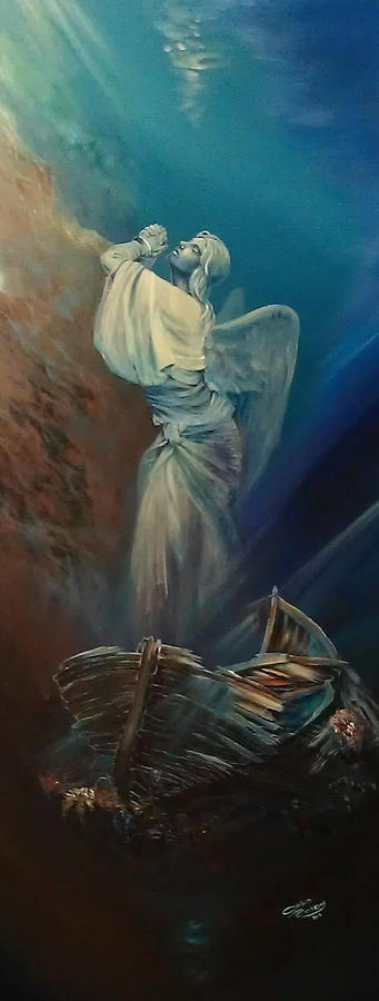 Angel Painting - Prayer For The Seas by Ottilia Zakany