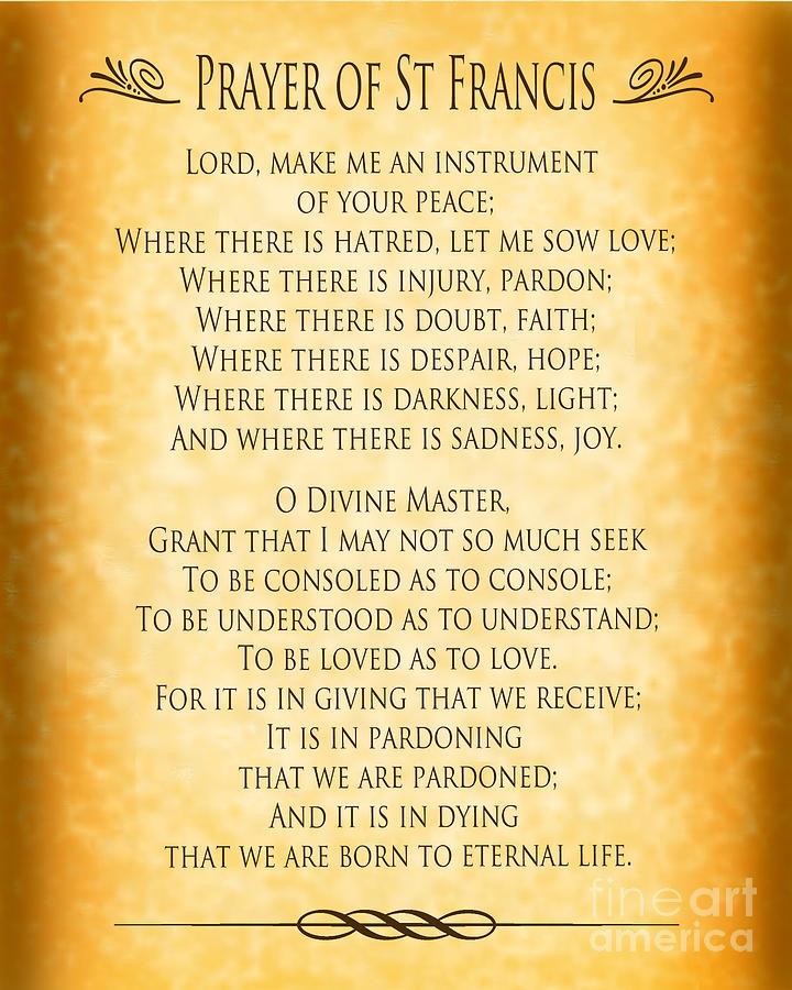 Prayer Of St Francis Digital Art - Prayer Of St Francis - Pope Francis Prayer - Gold Parchment by Ginny Gaura