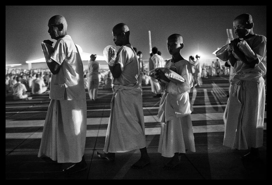 Black And White Photograph - Prayers For Peace In Thaiand by David Longstreath
