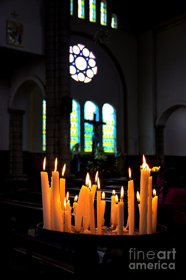 Candle Photograph - Prayers In Gualaceo Ecuador by Al Bourassa