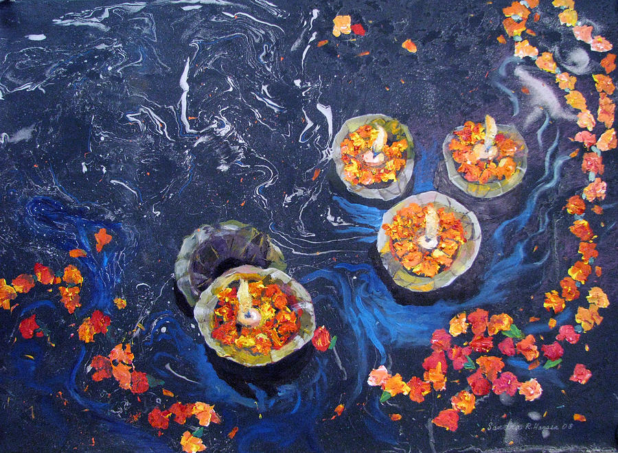 Handmade Paper Painting - Prayers To The Ganges River by Art Nomad Sandra  Hansen
