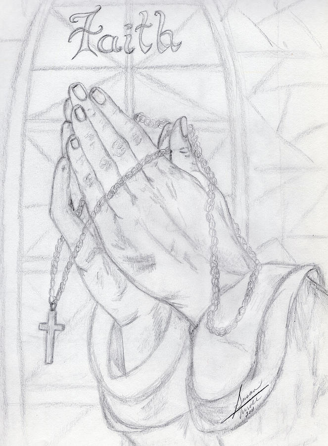 Praying Hands Drawing by Susan Turner Soulis