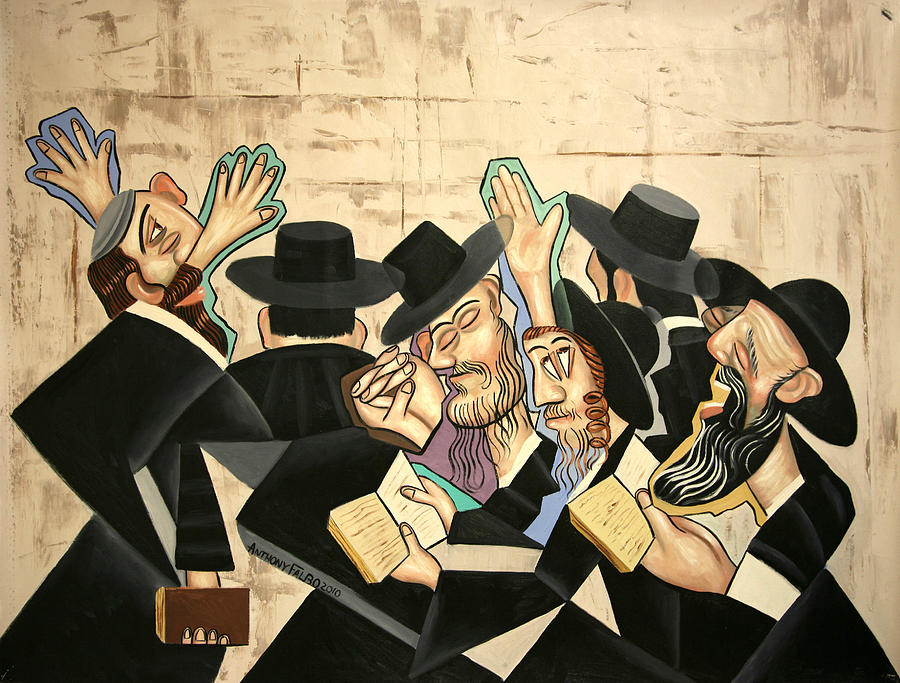 God Painting - Praying Rabbis by Anthony Falbo