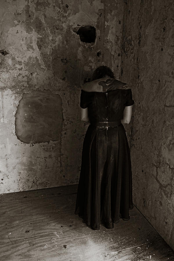 Horror Photograph - Praying To The Thing That Lives In Thewall by Louis Maistros