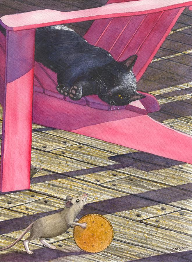 Cat Painting - Precarious by Catherine G McElroy
