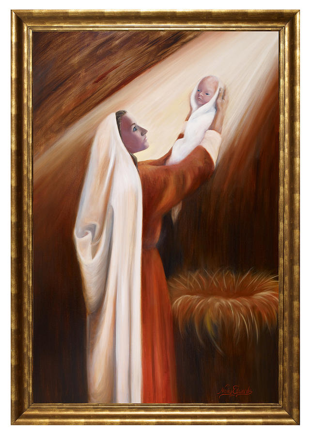 Mary Painting - Precious Child by Nancy Edwards