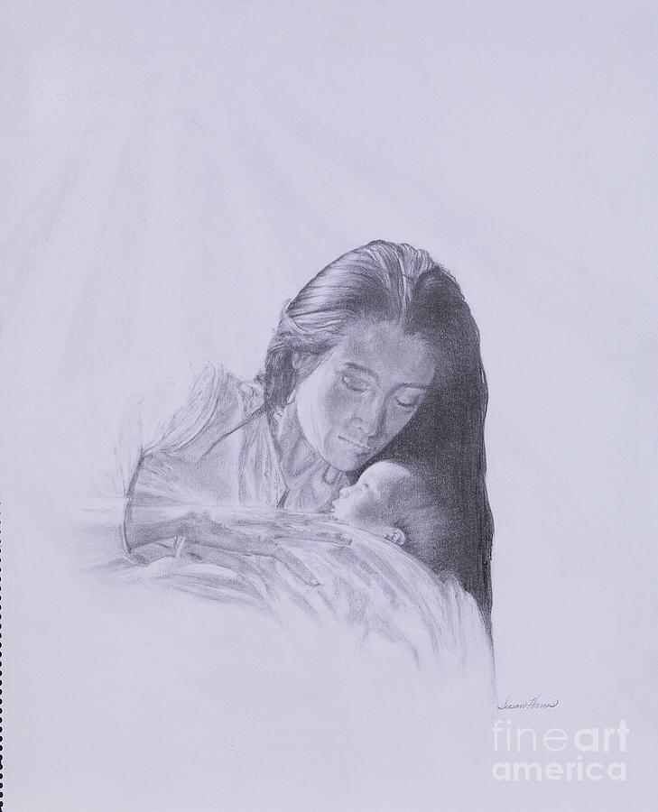 Mary And The Christ Child Drawing - Precious Gift From The Life Of Jesus Series by Susan Harris