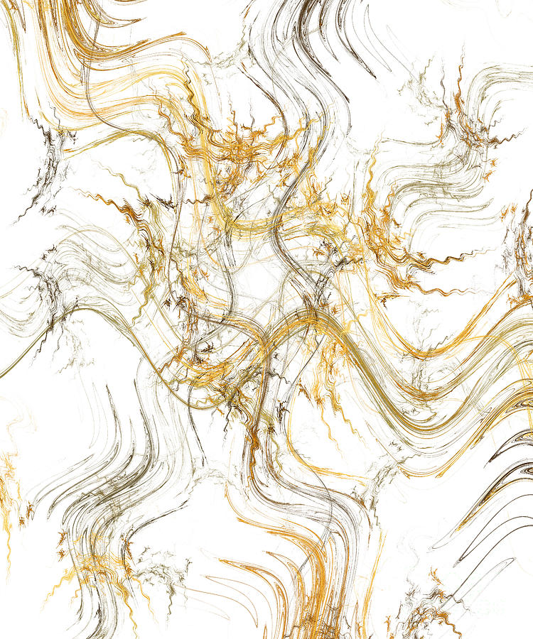 Abstract Digital Art - Precious Metal 1 White Decorator Collection 1 by Andee Design