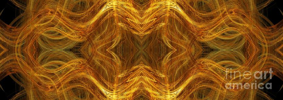 Abstract Digital Art - Precious Metal 3 Ocean Waves Dark Gold by Andee Design