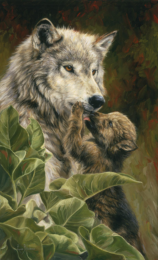 Wolf Painting - Precious Moment by Lucie Bilodeau