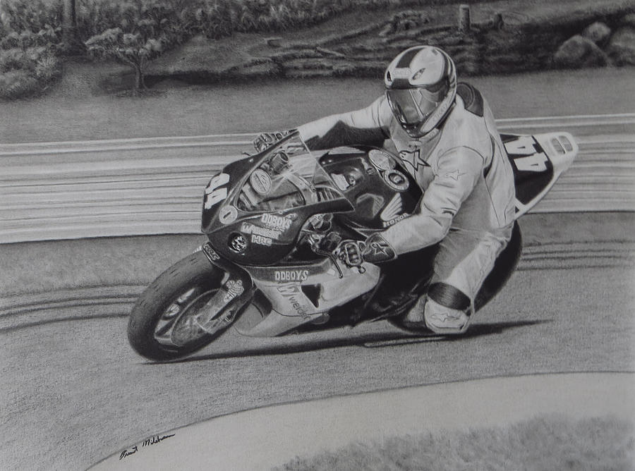 Motorcycle Racing Drawing - Precision by Brent  Mileham