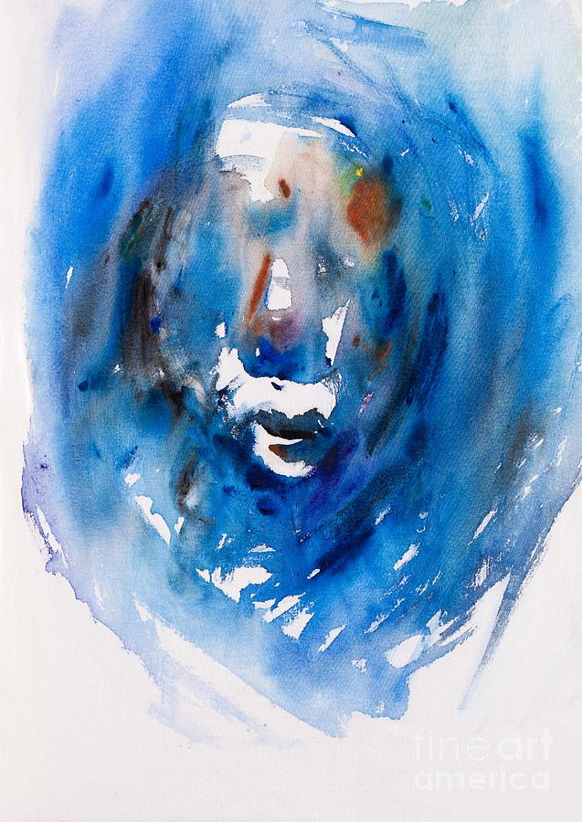Predicting Face Blue Abstract